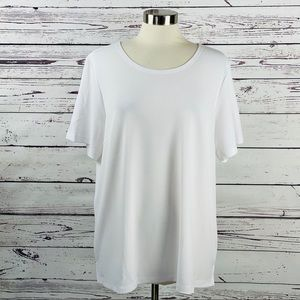 Joan Rivers Textured Knit Tee Shirt Size XL White